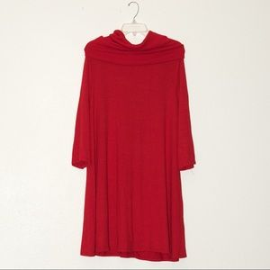 Nwot APT9 red longsleeve tunic w/removable scarf